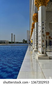 pillers and water garden of sheik zayed grand mosque abudhabi,UAE.picure taken on 2/2/2019