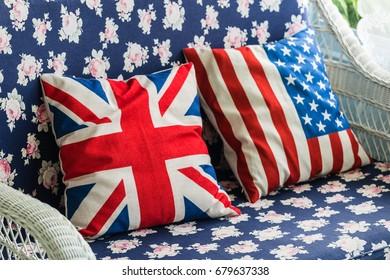 Pillow British flag and pillow usa flag