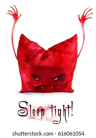"""Pillow the Count Dracula. Watercolor funny illustration of a pillow that says """"SLEEP TIGHT!"""""""