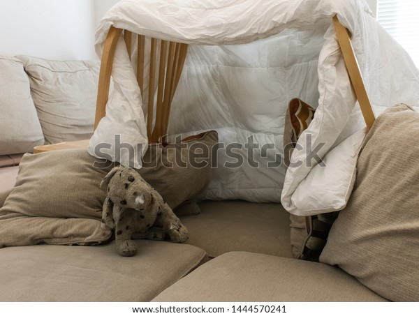Pillow Fort Made Blankets Chairs Stuffed Stock Photo Edit