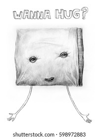"""Pillow the funny character. Hand drawn funny illustration of a pillow that says """"WANNA HUG?"""""""