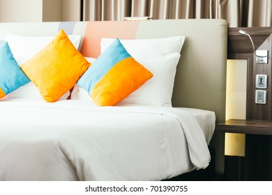 Pillow on bed decoration interior of bedroom
