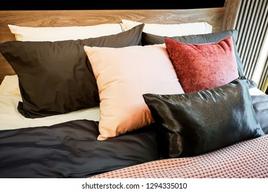 Pillow on colorful bed and beautiful pattern.cof