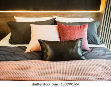 Pillow on colorful bed and beautiful pattern