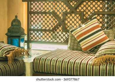 Pillow On Sofa Decoration Interior With Morocco Style   Vintage Filter