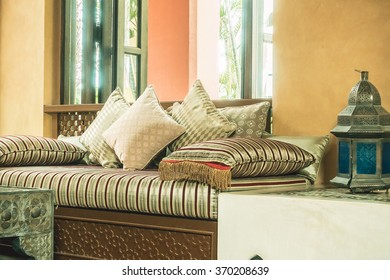 Pillow on sofa decoration interior with morocco style - Vintage Filter