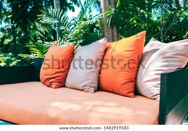 Wondrous Pillow On Sofa Furniture Decoration Outdoor Stock Photo Gmtry Best Dining Table And Chair Ideas Images Gmtryco