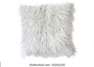 pillow with white fur cover