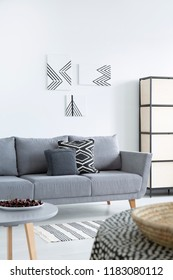 Pillows on grey sofa in patterned living room interior with posters and cherries on table. Real photo