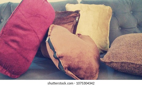 pillows on sofa