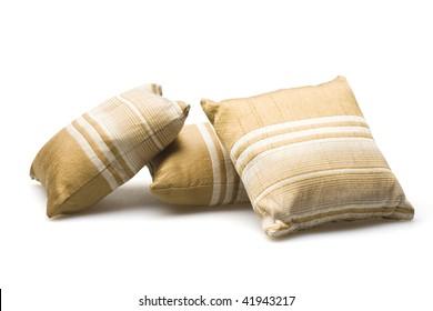 pillows on white background.