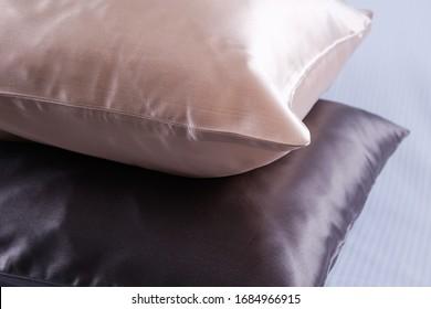 pillows in silk pillowcases closeup