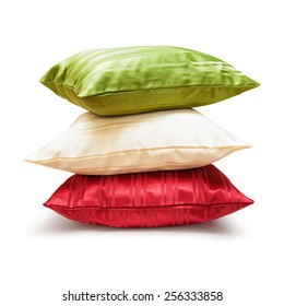 Pillows stack isolated on white background. Object with clipping path