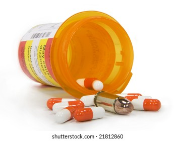 Pills and a bullet pour from a pill bottle