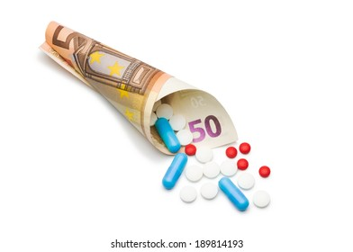 Pills and capsules with Euro money