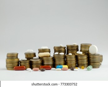 Pills and coins isolated on white background