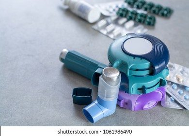 Pills and inhalers for asthma, bronchitis, lungs diseases, first aid
