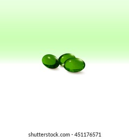 Pills isolated on green background, 3D illustration.