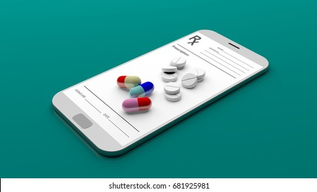 Pills and prescription on a smartphone isolated on green background. 3d illustration