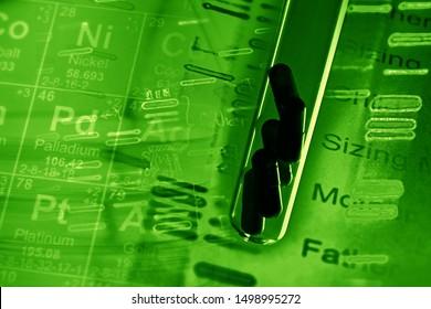 Pills in test tube and DNA fingerprints