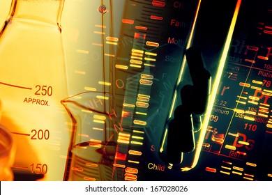 Pills in test tube over fingerprint test DNA background.