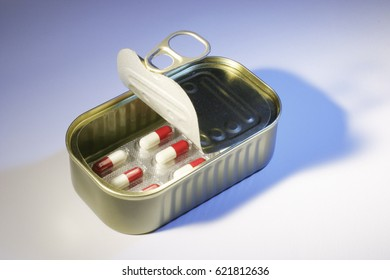 Pills in Tin Can on Seamless Background