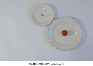 Pills vs vegetables and fruits: tomato vs purple pill