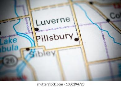 Pillsbury. North Dakota. USA on a map.