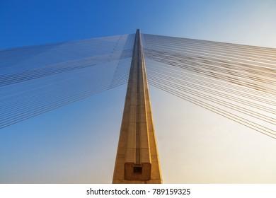 Pilot cable bridge. Blue sky.