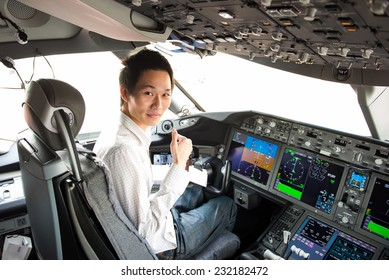 Pilot in the cockpit of an airplane