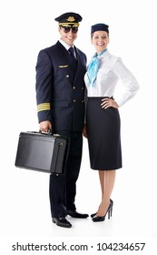 The pilot and flight attendant with a suitcase on a white background