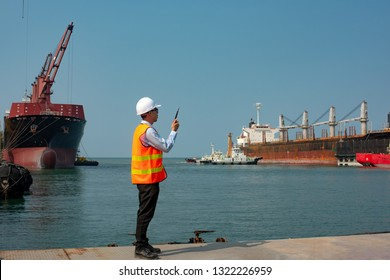 pilot or harbor master, port control or supervisor in command to takes the commcercial ship berthing alongside terminal for operation in wharf, tugs boat assist for safety circumstance in terminal