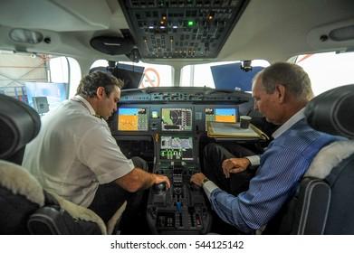 Pilot has seen at cockpit of Dassault Falcon 8x aircraft private jet at Subang Jaya Airport Malaysia on December 15, 2016