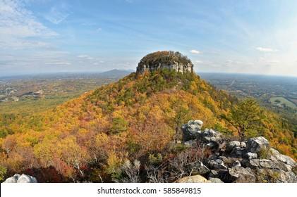 Pilot mountain state park in North Carolina fall autumn