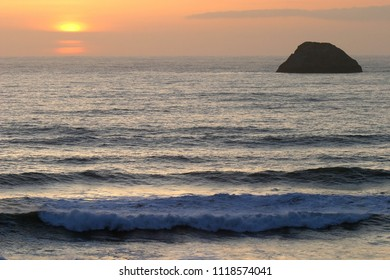 Pilot Rock at Sunset, Trinidad Bay, Trinidad, California, USA