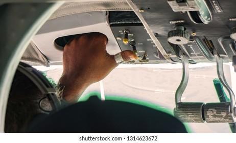 A pilot in the seaplane of Maldives