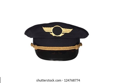 Pilots black cap isolated on white background
