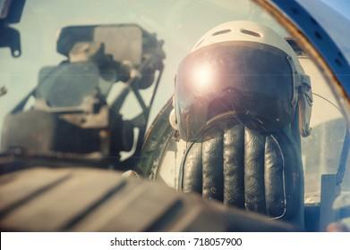 Pilot's old helmet close up. Antiquated planes.