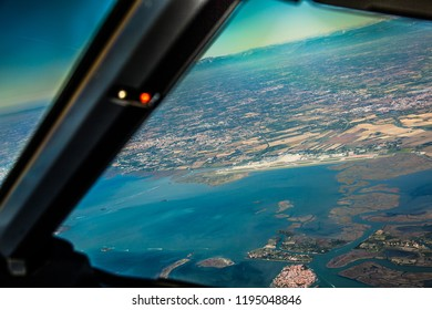 Pilots view of the landscape around the airport of Venice, Italy,  landscape panorama from above, Aerial panoramic view - Europe