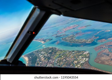 Pilots view of the landscape around the city of Venice, landscape panorama of Italy from above, Aerial panoramic view - Europe