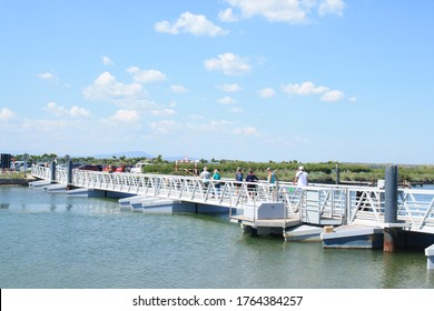 The Pilou foot bridge in of Villeneuve les Maguelone, a seaside resort in the south of Montpellier, Herault, France