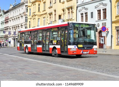 PILSEN, CZECH REPUBLIC - – May 1, 2018: City bus on the route.