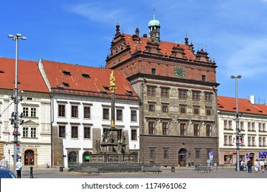 PILSEN, CZECH REPUBLIC - – May 1, 2018: View of the Plague column and Town Hall on Republic Square.