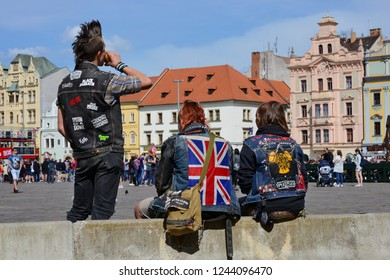 PILSEN, CZECH REPUBLIC – May 1, 2018: Representatives of the youth subculture (punks) on Republic Square.