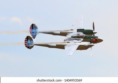 Pilsen / Czech Republic - September 9, 2018: Flying Bulls Red Bull sponsored Lockheed P-38 Lightning. Rare fighter plane over Pilsen.