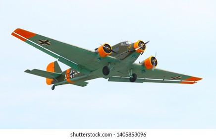 Pilsen / Czech Republic - September 9, 2018: The Junkers Ju 52 nicknamed Tante Ju, Aunt Ju and Iron Annie is a German military aircraft manufactured for transport, bomber and paratroopers use.
