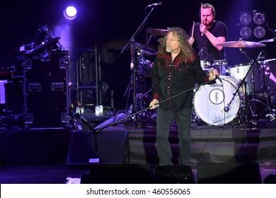 PILSEN - JULY 27: Famous English singer Robert Plant during his performance in Pilsen, Czech republic, July 27, 2016.
