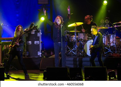 PILSEN - JULY 27: Famous English singer Robert Plant (in the middle) during his performance in Pilsen, Czech republic, July 27, 2016.