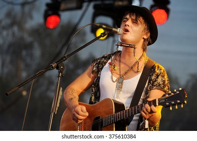 PILSEN - JULY 3: English singer Pete Doherty during his performance at festival Rock for People Europe in Pilsen, Czech republic, July 3, 2015.