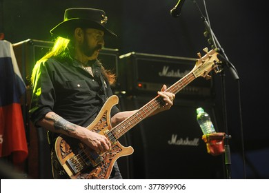 PILSEN - JULY 4: Singer and bass guitarist Lemmy Kilmister of Motorhead during performance at festival Rock for People Europe in Pilsen, Czech republic, July 4, 2015.